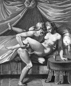Darstellung des Geschlechtsverkehrs in einem Kupferstich von Agostino Carracci, 16. Jahrhundert